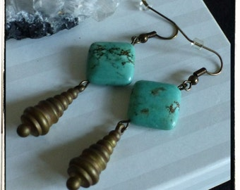 Genuine Turquoise on Vintage Brass Earrings -- Long and Dangly -- Gift Idea -- Stocking Stuffers