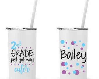 2nd Grade Just Got Way Cuter- Personalized 12 0z. Roadie Tumbler with Straw and Lid, Insulated Stainless Steel