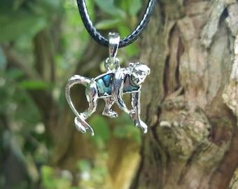 Animal Necklace, Monkey, Monkey Gifts, Monkey Necklace, Abalone Necklace,Abalone Jewelry, Monkey Jewellery, Corded Necklace, Monkey Jewelry