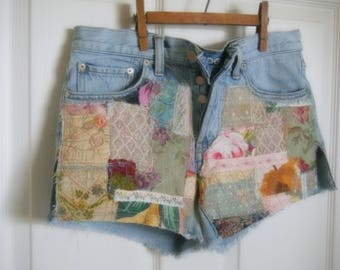 patchwork jeans, jean shorts, patched, hippie boho, upcycled, festival, daisy dukes, Grateful Dead, size 8, one of a kind, boyfriend