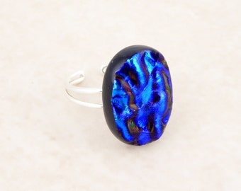 Blue fused glass dichroic ring, 925 sterling silver adjustable ring, chunky textured ring, statement ring