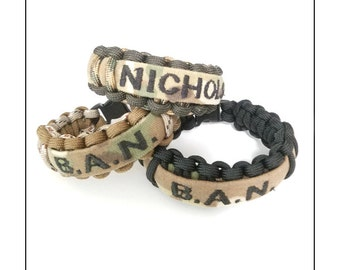 CUSTOM Name Tape Paracord Bracelet - SINGLE WIDTH
