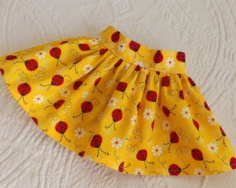 18 Inch Doll Clothes Bright Yellow With Red Lady Bugs Handmade Very Fully Gathered 50s Style Skirt with Waistband will fit AG