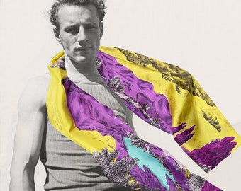 Silk's scarf, rectangular, with spectacular mountains's landscape where men are sleeping, hand-drawn, yellow, purple, made in France