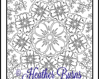 Coloring Page/Flower Mandala/Adult Coloring/Colouring Page