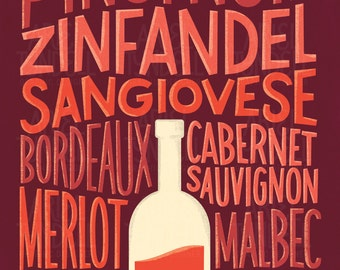 INSTANT DOWNLOAD! Red Wine Varieties - Hand Lettered Poster