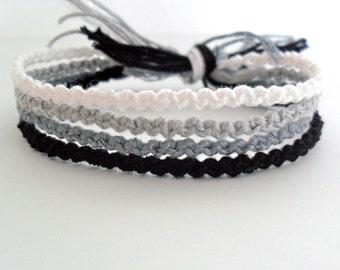 Ombre White, Grey, and Black Friendship Bracelets - Set of 4