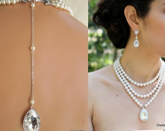 backdrop pearl necklace, bridal pearl necklace, rhinestone bridal necklace, pearl and crystal necklace, bridal statement necklace, SAHARA