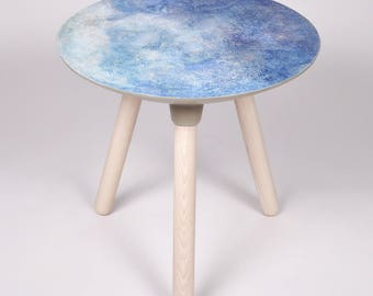 Moon Collection | Side Table in Blue, Accent table, Blue Moon, Planets, Space, Astronomy, Home Decor, Moon Table, Moon Art, Painted Moon
