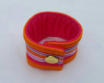 Fabric cuff bracelet, bright colors, orange and hot pink