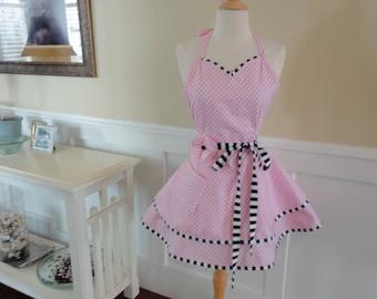 Soft Pink  ~Sadie Style Women's Apron ~ 4RetroSisters