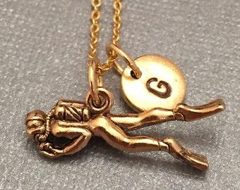 Scuba diver necklace, scuba diver charm, nautical necklace, personalized necklace, initial necklace, initial charm, monogram