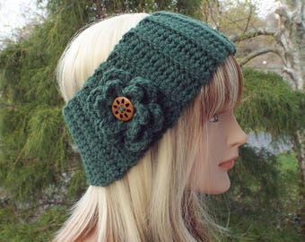 Pine Green Ear Warmer, Crochet Headband with Flower, Head Wrap, Womens Ski Band, Chunky Earwarmer, Winter Headband, Gift for Her