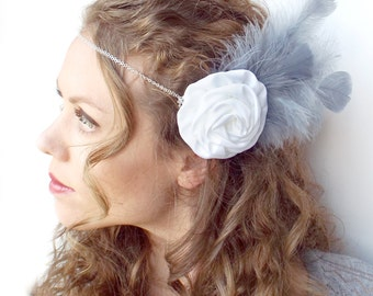 White Flower and Blue-Gray Feather Circlet
