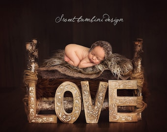 Newborn Photography Digital Backdrop  - Rustic Love Bed Instant Download