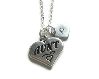 Aunt Necklace, Personalized Necklace, Initial Necklace, Personalized Aunt Jewelry, Aunt Gift
