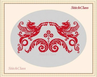 Counted Cross Stitch Pattern PDF Ornament with unicorns Pegasus Counted CrossStitch Patterns Epattern PDF File geraldic horses