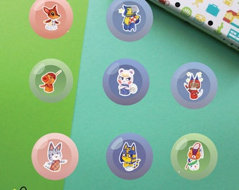 Villagers #2 Buttons | Animal Crossing New Leaf | Fauna Keaton Zucker Marshal Kid Cat Lolly Ankha Stitches