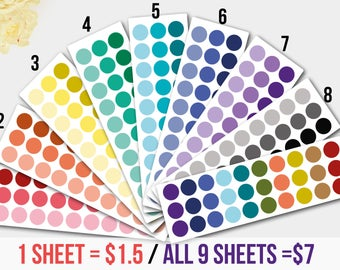 Crayon-Inspired Dot Stickers for  Life Planners, Dots Circles, Dot Circle Sticker, Circle Planner, DISCOUNTED