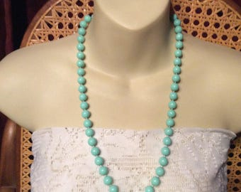 Light turquoise colored acrylic beads collar necklace. 1960s