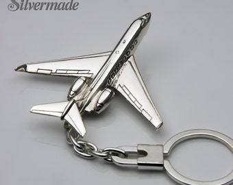 Silver KeyRing airplane Gulfstream