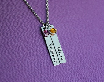 Personalized Tag Necklace - Stainless Steel Tag Necklace - Kids Names and Birthstones Necklace - Mom Necklace - Gift for Mom - Mother's Day