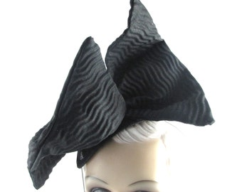 Womens Hat Fascinator Headband Headpiece Black Handmade Hat Church Hat Wedding Hat Races Ascot Derby  Art Deco Custom Made for Each Client