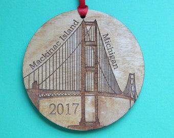 Mackinac Island Bridge Christmas Ornament FREE SHIPPING