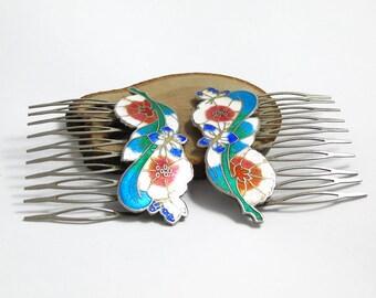 Vintage Cloisonne Enamel Hair Combs, Cloisonne Hair Combs, Floral Enamel Combs, Hair Accessories, Decorative Combs, 1980s, Enamel Combs