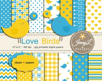 Love Birds Digital Papers and Clipart, Valentine's Day, Hearts Wedding, Baby Shower, Baby Baptism Invitation, Scrapbooking Paper, Yellow
