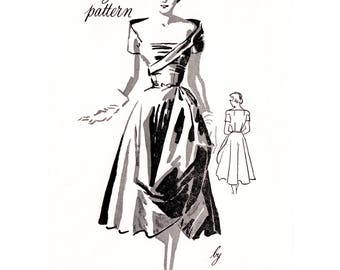 1950s 50s cocktail dress pattern // Ceil Chapman // off shoulder // Vintage Sewing Pattern reproduction // bust 32 34 36 38