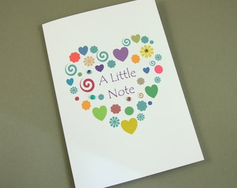 Note Cards, Pack of 3, Pack Notlet Cards, Heart Note Card, Message Card, Just a Note Card, Small Note Card,