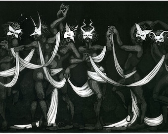 "Etching print - ""Dancing Fates"" - mysterious original art. Black & white version, monochrome. Masquerade dance by Nancy Farmer."