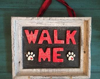 Ceramic Walk Me Sign with Hooks
