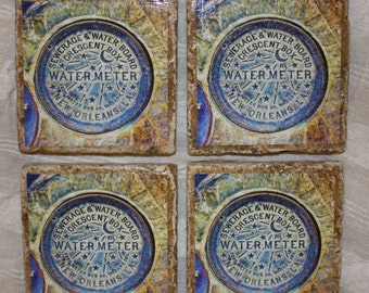 New Orleans Water Meter Stone Coasters - Set of Four