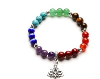 7 CHAKRA BRACELET 8mm Healing Gemstones Beaded Bracelet- Lotus Charm-Yoga Jewelry- Gift for Women Girls