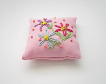Pink Pin Cushion Handmade with Embroidered Flowers Pincushion,  DIY Crafter Supply