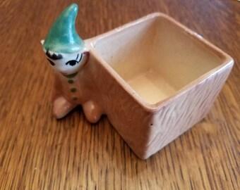 Adorable Vintage Elf or Pixie Tree Porcelain Planter