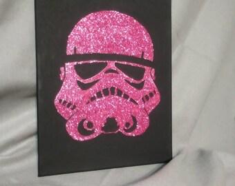 Star Wars Storm Trooper helmet pink glitter