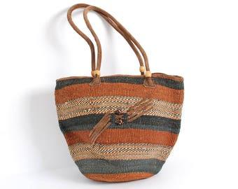 SISAL woven stripe 90s JUTE tan SUEDE bucket tote purse bag