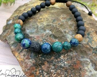 Unisex adjustable bracelet, azurite-malachite, onyx, volcanic stone, aromatherapy, essential oils, chakra, lava stone, man, mala