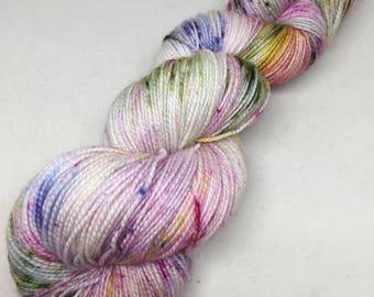 Hand dyed sock yarn superwash merino and nylon, speckled and splattered yarn   Monet sock yarn