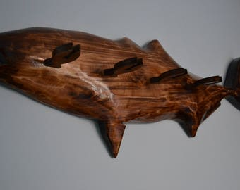 Fishing rod holder - Rod rack handcarved - Stand for fishing rods - Wooden fish - Rods organizer - Fishing rack - Wall mounted holder
