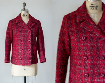 Kodaline jacket | Vintage 1960s red textured wool plaid peacoat