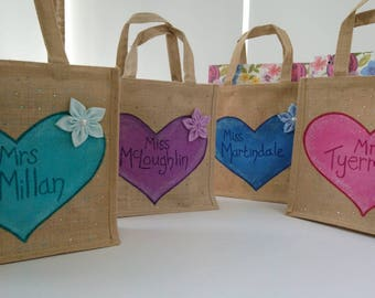 Teacher gifts, Thank You Teacher, Thank You Gift, Personalised bag, End of Term, jute bags, Personalised Gift, teacher gift ideas