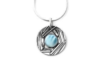 Larimar Pendant, Blue Larimar necklace, Larimar Stone, Genuine Larimar, Larimar jewelry, Larimar gemstone, Blue Larimar, Sterling Silver