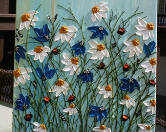 White Daisy  Painting, Blue White  Flowers Painting,  Impasto  Flowers Painting,  Acrylic Painting, Original Painting.