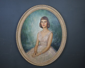 Mid Century Oil Portrait Painting of a Young Women Wearing 1950s Dress / Signed Framed Vintage Oval Portrait