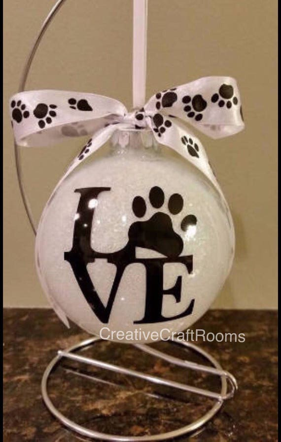 LOVE Paw Print Ornament, Personalized Glittered Pet Ornament, Rainbow Bridge Dog ornament, Pet Ornament, Personalized Pet Lover gift