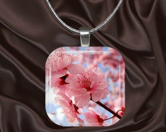 Cherry Blossoms Glass Tile Pendant with your choice of chain included(Cherry4.1)